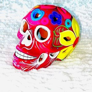 Lantern Skull Ceramic Hand-painted/Made in Mexico